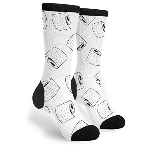 Funny Socks Men's Women's Fun Novelty Crew Socks (Toilet Paper Rolls In Doodle Style)