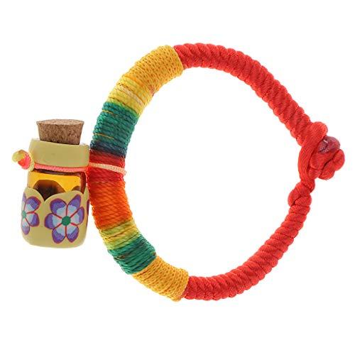 perfk Bracelet Corde Arc-en-Ciel Cadeau de Noël/Festivals - Jaune
