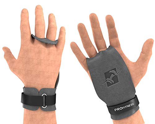 """ProFitness 2 Hole Leather Cross Training Gymnastic Grips - Non Slip, High Grip Palm Protection with Wrist Wrap Support for Pull Ups, Kettlebells, WODs (Medium 4.25""""-5.0"""" (Palm Size), Gray Grip)"""