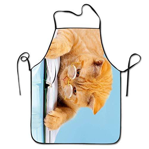 TEIJWET Brille Katzenbuch Schürzen Lätzchen Unisex Spitze verstellbar Polyester Koch Kochen lange volle Küche Schürzen für Innen Restaurant Reinigung Servieren Basteln Garten Backen BBQ Grill