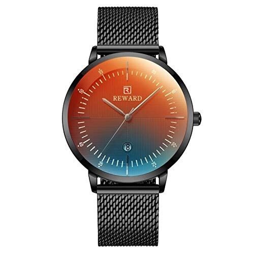 JCCOZ-URG Relojes for hombre nuevo de la manera superior de la marca de lujo del cuarzo del reloj de los hombres color que cambia la tabla de espejo de malla de acero a prueba de agua reloj de pulsera