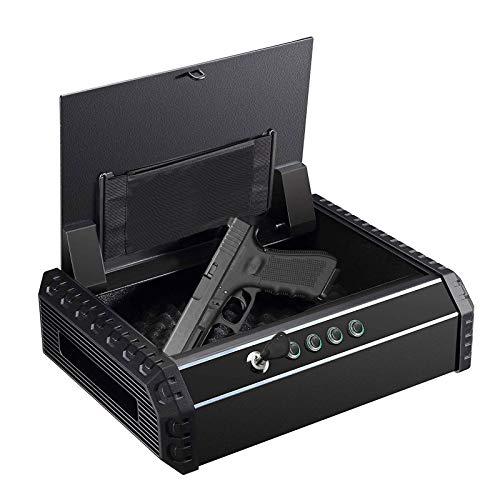 "Dalmbox California DOJ Certified Quick Access Gun Safe for 2 Pistol Safe Bedside Handgun Safe Lock Box Keypad Gun Safe & Cabinets 14.5'' X10.8""X3.9"" -  JS-IXD1-BOV4"