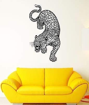 Wall Decal Leopard Cheetah Predator Animal Grin Wildcat Vinyl Stickers VS120