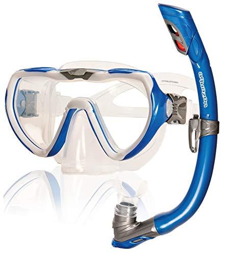 AQUAZON Starfish Hochwertiges Schnorchelset, Tauchset, Schwimmset, Schnorchelbrille mit Tempered Glas, Silikon, Schnorchel mit Dry top für Kinder, Jugendliche Von 7-14 Jahren, Farbe:Blue