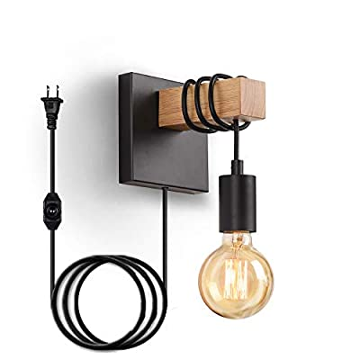 SUNVP Wall Sconce Plug in Light Dimmable Wooden Metal Wall Light Fixture Industrial Vintage Decorate Wall Lamp for Farmhouse Living Room Bedroom Corridor,Not Included Bulbs(1 Pack)