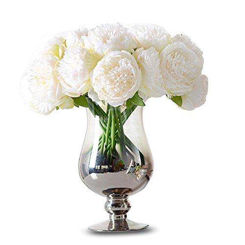 TININNA Elegante Tocco Reale Artificiali Bouquet di peonie in Seta Fiori di Seta per Wedding Casa Decor Matrimoni Decor(Bianco)