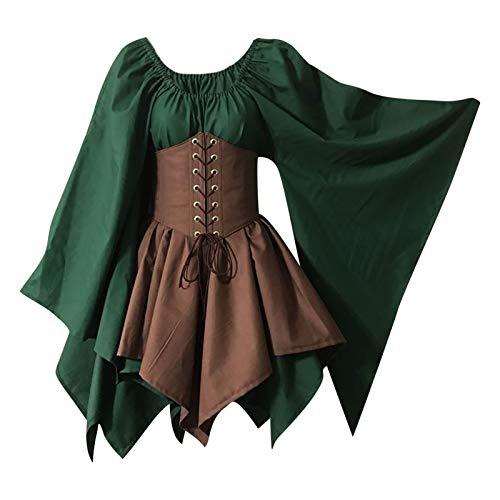 Damen Mittelalter Kleid mit Trompetenärmel Gebunden Taille Gothic Retro Midi Kleid Renaissance Cosplay Kostüm Kleid Karneval Halloween Party
