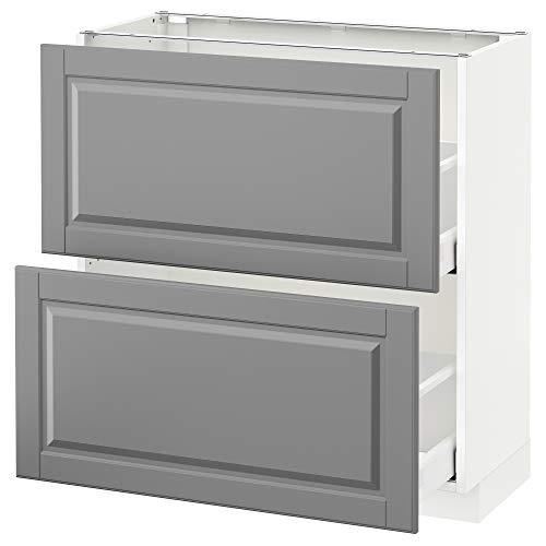 Mueble base METOD/MAXIMERA con cajones 2 80x39.5x88 cm blanco/Bodbyn gris