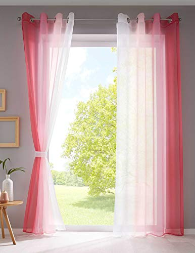 2er Pack Gardinen Vertikal Farbverlauf Druck Transparent »Modena« mit Ösen und Raffhalter, Vorhang, Dekoschal HxB 145x140 cm Rosatöne, 10000183