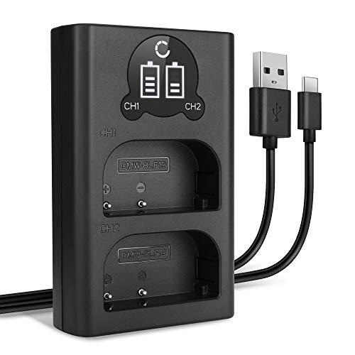 CELLONIC® Cargador Dual DMW-BLF19 DMW-BLF19E DMW-BLF19PP Smart y Rápido Compatible con Panasonic GH5 GH5s GH4 GH3 Lumix DMC-GH4 DC-GH5 DC-G9 + Cable USB DMW-BTC10 Cargador Doble Cable de Carga