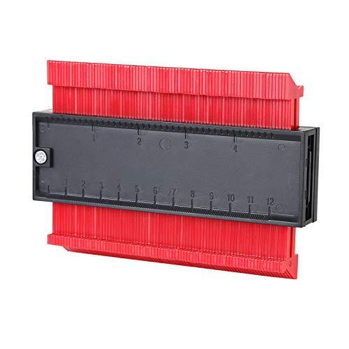 """flintronic Konturenlehre, 5\"""" Fliesen Laminat Duplikator, Markierungswerkzeug Profil Kopierer mit Skala unregelmäßiges Ideal für Laminat, Fliesen uvm - Rot"""