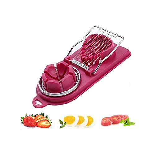 Cortador de huevos, cortador de fresas, cortador de frutas, cortador de huevos 2 en 1 de acero inoxidable (rojo)