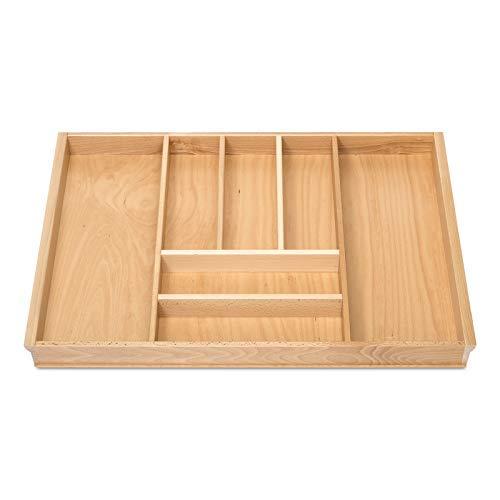 BUCHE Besteckeinsatz für 80er Schublade z.B. Nobilia ab 2013 (473 x 697 mm) Holz-Schubladeneinsatz mit 7 Fächer ORGA-BOX III