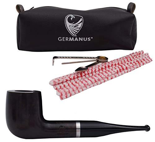 GERMANUS Pipa de Tabaco, Billiard 153 – Hecho en Italia – Juego con estuche, cubiertos de pipa de tabaco, limpiador, filtro