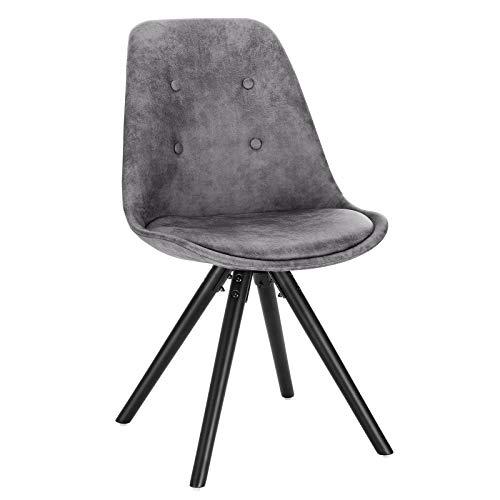 WOLTU® BH268dgr-1 1 Stück Esszimmerstuhl, Sitzfläche aus Stoffbezug, Design Stuhl, Küchenstuhl, Holzgestell, Antiklederoptik Dunkelgrau