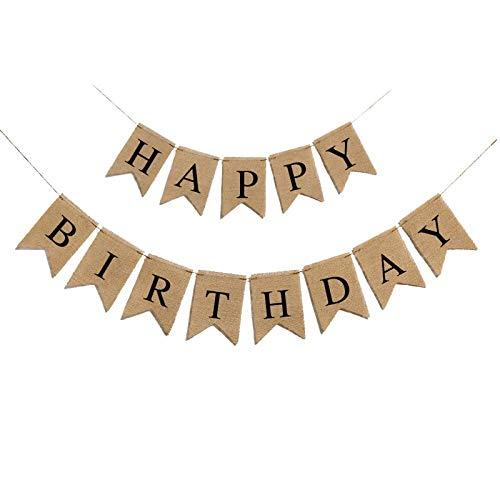 Happy Birthday Burlap Banner Black Alphabet Rustic Birthday Party Banner for Birthday Party Decorations