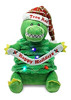 Cuddle Barn   Tree Rex 12  T-Rex Dinosaur Dressed as a Xmas Tree Animated Stuffed Animal Plush Toy   Dancing Dino Moves up and Down and Lights Up to Rockin  Around The Christmas Tree