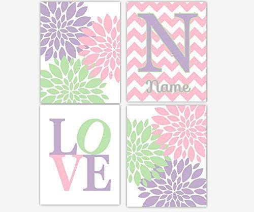 Girl Nursery Wall Art Lavender Pink Green Purple Flower Burst Dahlia Mums Personalize Monogram Name Chevron LOVE Floral Home Baby Nursery Decor SET OF 4 UNFRAMED PRINTS