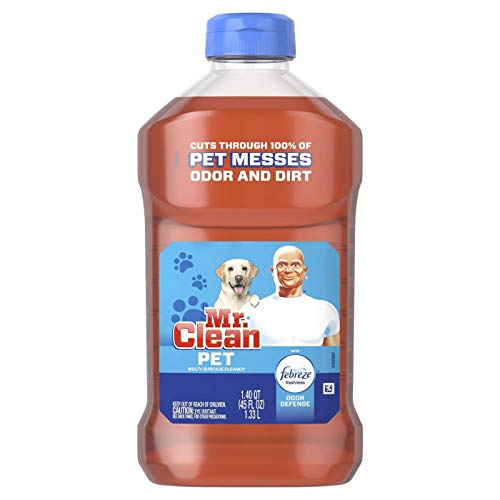 Mr. Clean All Purpose Multi-Surface Pet Liquid Cleaner with Febreze Odor Defense | Has Odor Converters | Eliminates Odor - 45 Ounce Each Bottle (Pack of 4)