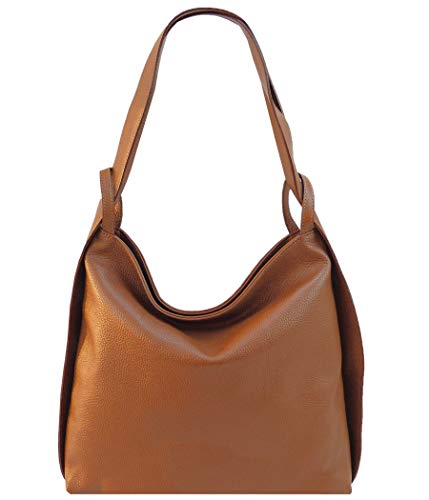 Freyday 2in1 Damen Handtasche Rucksack Designer Luxus Henkeltasche aus 100% Echtleder (Cognac)