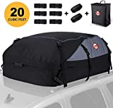 Adakiit Car Roof Bag Cargo Carrier, 20 Cubic Feet Waterproof Rooftop Luggage Bag Vehicle Softshell Carriers with 8 Reinforced Straps and Storage Carrying Bag for All Vehicle with/Without Rack