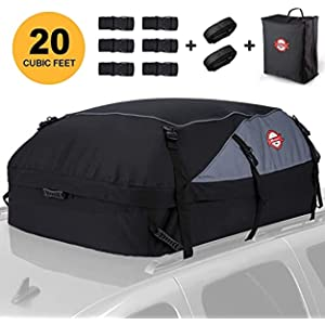 Car Roof Bag Cargo Carrier, 20 Cubic Feet Waterproof Rooftop Cargo Carrier Bag Vehicle Soft-Shell Carriers with Storage Carrying Bag + 8 Reinforced Straps Suitable for All Cars with/Without Rack