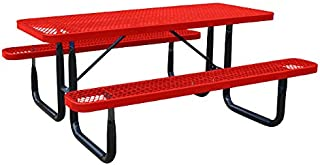 Kirby Built Products 8' Rectangular Thermoplastic-Coated Metal SuperSaver Commercial Picnic Table - Portable/Surface-Mount - Red