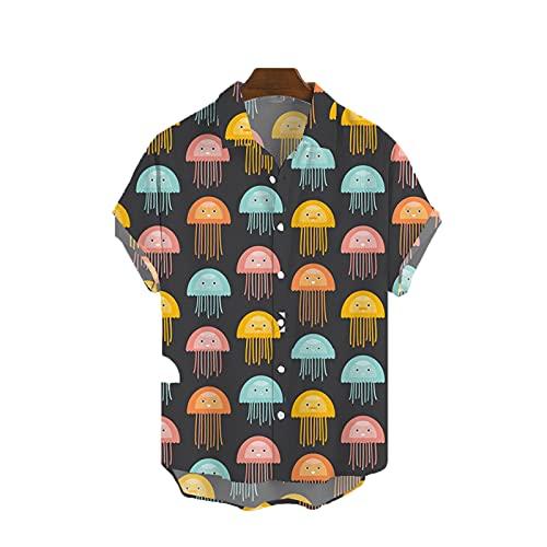 SSBZYES Herrenhemd Sommer Herren Kurzarmhemd Herren Plus Size Hemd Jugend Floral Lose Plus Size Revers Bedrucktes Hemd