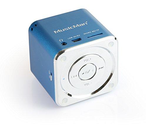 MusicMan Mini Soundstation (MP3 Player, Stereo Lautsprecher, Line In Funktion, SD/microSD Kartenslot) blau