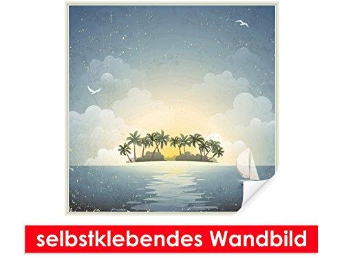 Image murale auto-adhésif Vintage Island – Facile à coller – Wall Poster Print, Wall Paper,, film vinyle avec point décoratif pour murs, portes, meubles et toutes les surfaces lisses de Trend murs, 80 x 80 cm