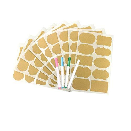 100 etiquetas de papel kraft para manualidades, 5 cm x 3 cm, autoadhesivas en blanco para frascos de vidrio, botellas de cristal, para hornear en casa, regalos hechos a mano, latas de cosméticos