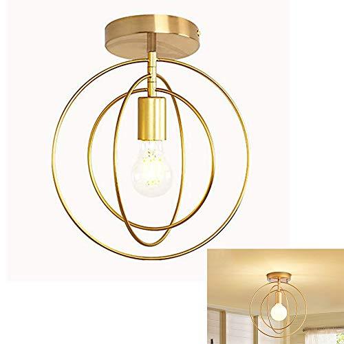 Badezimmer Lampe Led Deckenlampe Deckenlampen Moderne LED Deckenleuchte Metall E27 Hängeleuchte Pendelleuchte Wohnzimmerlampe Kronleuchter golden für Esszimmer Schlafzimmer Küche Flur, circle