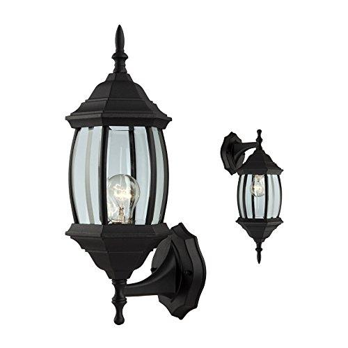 Outdoor Exterior Wall Light Fixture Lantern Porch Patio Downlight/Uplight, Black