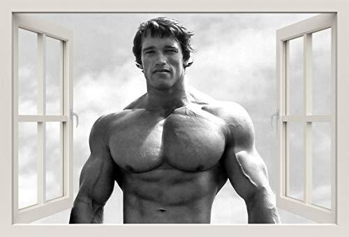 Unified Distribution Arnold Schwarzenegger - Wandtattoo mit 3D Effekt, Aufkleber für Wände und Türen Größe: 92x61 cm, Stil: Fenster
