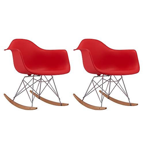 Divano Roma Furniture Rocking Patio Lounge Chair w/Arms, Set of 2 Eames Style Shell Plastic Rocker Chairs for Bed, Nursery, Living Room - Red
