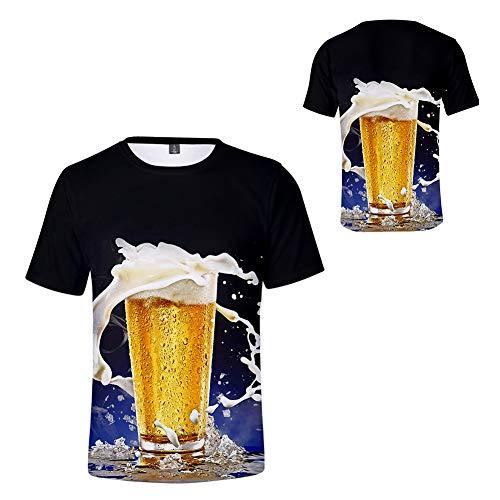 Scopri offerta per weiwei Maglietta a Maniche Corte Bambino Stampa 3D Birra T-Shirt in Primavera Estate Sportiva T-Shirt,Nero,Tall 120cm
