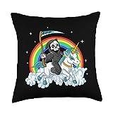 Alt Girl Aesthetic Grim Reaper Riding Unicorn   Aesthetic Pastel Goth Girls Throw Pillow, 18x18, Multicolor