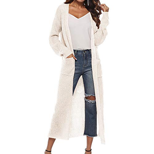Vertvie Damen Mantel Langarm Open Front Cardigan Strickjacke Asymmetrisch Schnitt Strickmantel Langshirt mit Taschen (EU XL/Etikettengröße 2XL, Weiß)