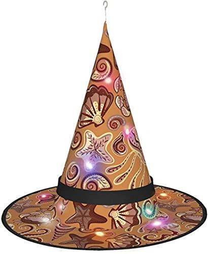 KINGAM Sombrero de bruja con luz de pulpo de mar y medusas con pulpo, para disfraz de cosplay de Halloween, fiesta de disfraces, accesorio y diario