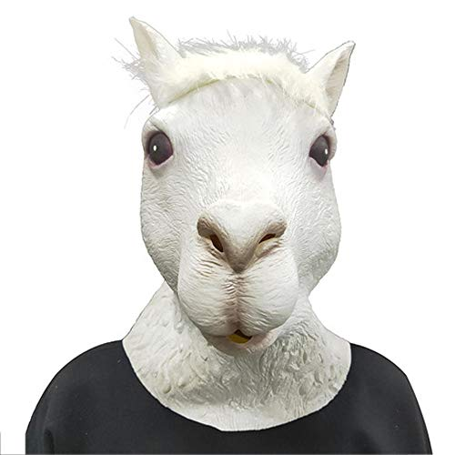 YXwD Máscara de Halloween, máscara de Alpaca Fiesta de Baile Mujer COS Maquillaje Animal Show Parodia Linda Peluca Animal
