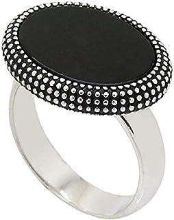 خاتم فضة استرليني ملاكي مع حجر اسود للرجال من عتيق
