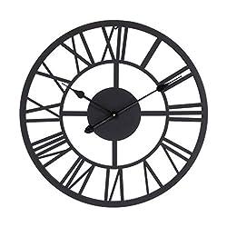 MOCOME Dark Brown Roman Numeral Metal Wall Clock 22 Large Analog Battery Operated Decorative Clock