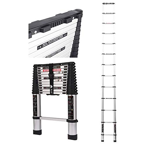 12.47 Ft / 3.8m telescopische aluminium ladder for Home Loft Zolder Ladder, Portable Uitbreiding Ladder, Supports 330 Lbs / 150kg 8bayfa