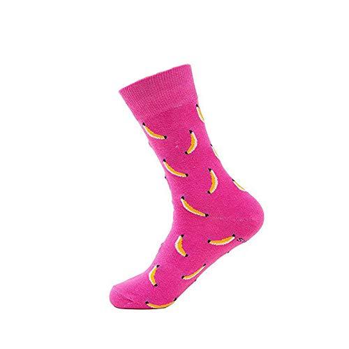 LILONGXI Funny Sokken, Outdoor Mode Atletische Breien Sokken Roze Banaan Patroon Printing Sokken Ademende Antibacteriële Ms, Herfst Winter Warm Katoen Sokken (3st)