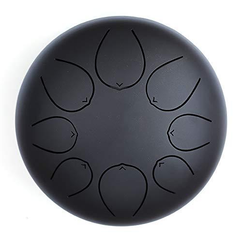 SISTOUSEN Tambor De Lengua De Acero Instrumento De Percusión De 8 Pulgadas Y 8 Notas Pandereta Partituras Y Meditación Entretenimiento Educación Musical Concierto Yoga,Negro