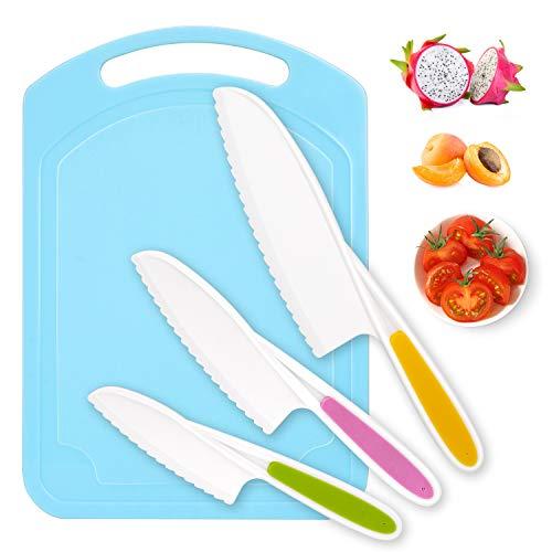 Kindermesser, Joyoldelf Küchenmesser, küchenmesser set (mit Kunststoffschneidebrett), küchenmesser klein in 3 Größen und Farben, gezackte Kanten, LFGB Zertifiziert, BPA-frei