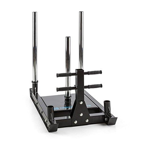 Capital Sports Sledster Plus Gewichtsschlitten - Powerschlitten, Sprint- und Zugschlitten, Schnellkrafttraining, Druck- und Zugübungen, 7 cm Gleitschienen, Gewichte mit Ø 50 mm, Stahl, schwarz