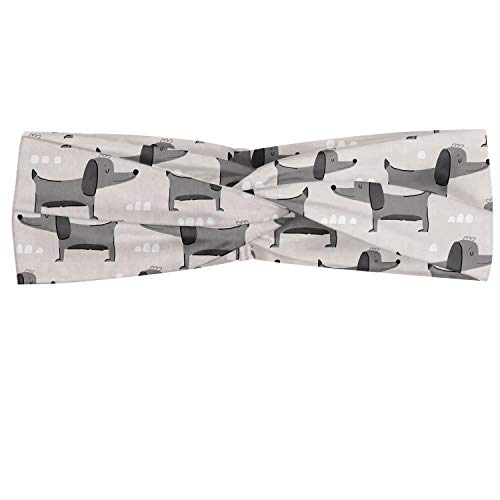 Lunarable Dogs Headband, Simple Puppy in Scandinavian Style Design Doodle Art, Elastic and Soft Women's Bandana for Sports and Everyday Use, White Grey Dust
