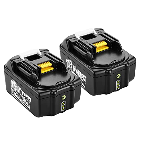 Turpow 2 X BL1850B 5.0Ah Li-ion Battery Replacement for Makita 18V Batteries BL1860 BL1850 BL1850B BL1840 BL1840B BL1830B BL1830 BL1820 BL1815 BL1835 BL1845 LXT-400,with LED Indicator