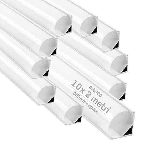 10x Profili Angolari da 2 metri (20mt) in Alluminio Bianco per Strisce LED Schermatura Opaca ingombro max striscia led 10.5mm - 15.8 x 15.8